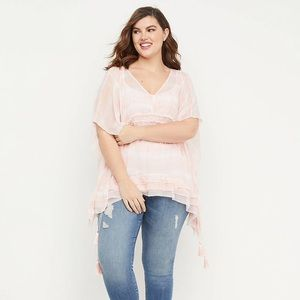 Lane Bryant sheer overblouse with drawstring cords